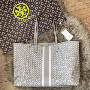 Tory Burch French Grey Large T Zag Tote